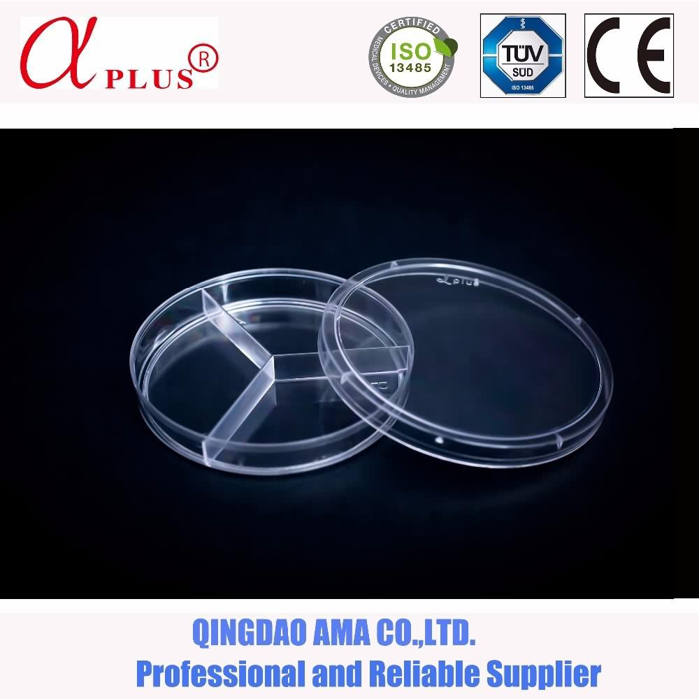90mm 3 compartments petri dish for bacteria culture