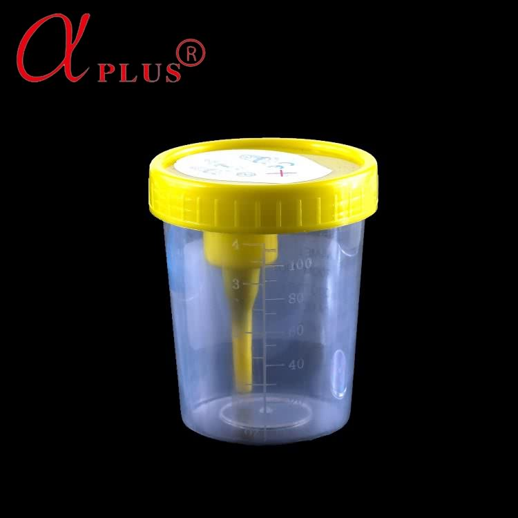 Stool sample collection disposable sterile cup with spoon and label