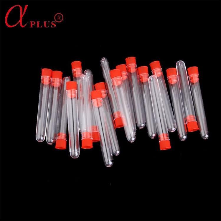 Medical consumable flat bottom plastic test tube with stopper