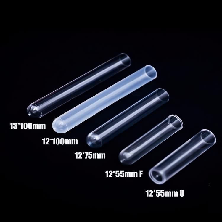 Lab clear plastic test tubes with screw caps