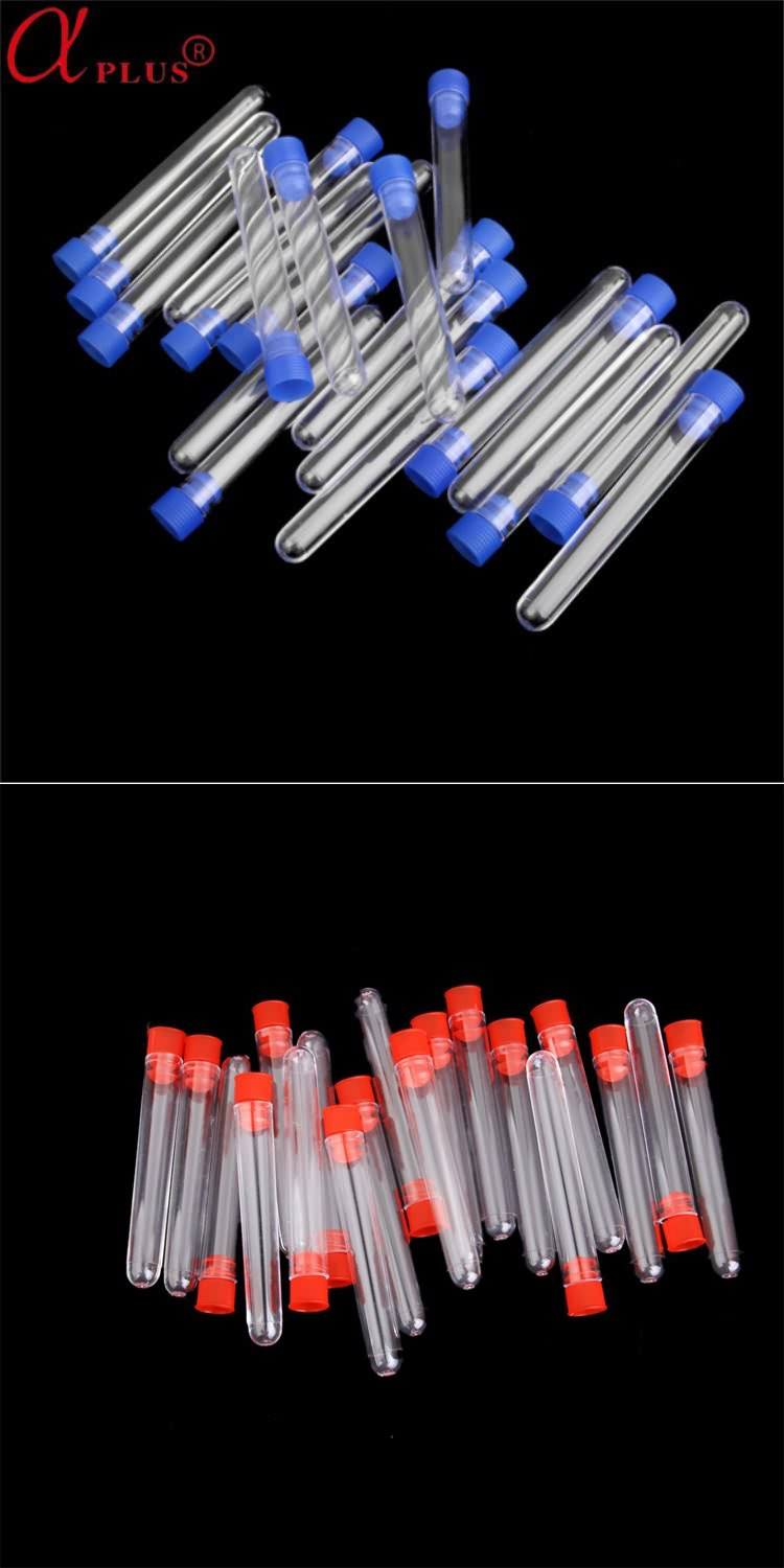 Lab medical disposable plastic 12*75mm test tube with screw caps